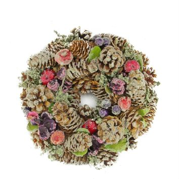 "10"" Sugared Purple and Red Pine Cone and Berries Artificial Christmas Wreath - Unlit"