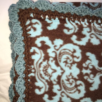 "Brown and Blue 60""x40"" Hand Made Crocheted Edging Blanket"