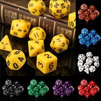 10Pcs set Desk Polyhedral TRPG Table RPG Games Dices 4 6 8 10 12 20 24 30 Sided Dice Acrylic Plastic Opaque Multi Sides Gaming
