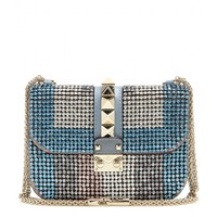 valentino - lock small crystal-embellished shoulder bag