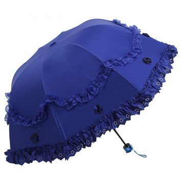 (10 pieces/lot) new elegant three-folding solid color pongee canopy with two layers lace wedding umbrellas