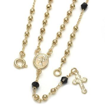 Gold Layered 09.09.0008.18 Thin Rosary, Divino Niño and Crucifix Design, with Black Azavache, Polished Finish, Golden Tone