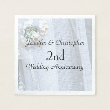 Vintage Lace Paper Napkins 2nd Wedding Anniversary