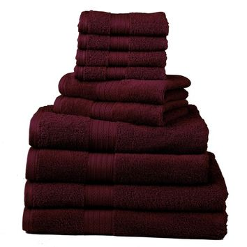 Divatex Home Fashions 10-Piece Deluxe Towel Sets, Cranberry