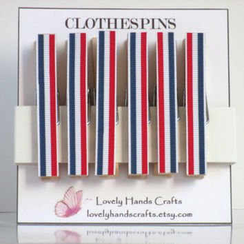 Red, White & Blue - Ribbon Decorative Clothespin - Set of 6