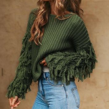 Casual knitted tassel sweater
