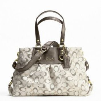 Shoulder Bag Coach Ashley 3 Color Metallic Signature Carryall Style #F20263 Khaki | Mogul Interior