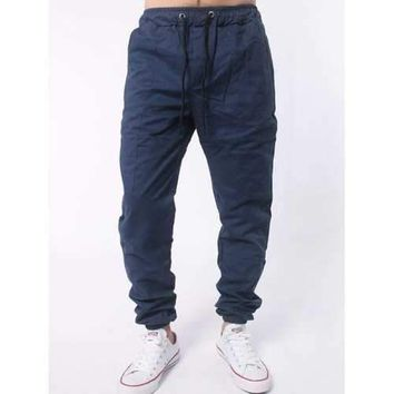 Drawstring Elastic Waist Chino Jogger Pants - Cadetblue 4xl