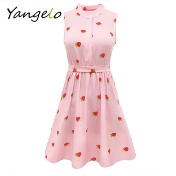 Japanese Mori Girl Strawberry Print Sleeveless Dress Kawaii Lolita Sweet Pink High Waist A Line Mini Dresses Summer New 2017