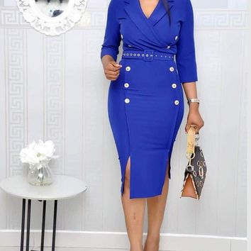 New Blue Belt Double Slit Double Breasted Plus Size Office Worker/Daily Fashion Midi Dress