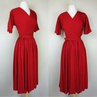 1940s red dress, pin tuck belted fit and flare V neck short sleeve dress, small, 6