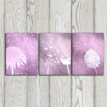 Purple Dandelion poster print Printable Dandelion Wall art Set of 3 Home decor Bedroom Digital Modern Abstract Flower art INSTANT DOWNLOAD