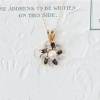 Vintage Sapphire and Diamond Necklace | Dainty 14k Yellow Gold Flower Necklace | Something Old Something Blue | September Birthstone Jewelry