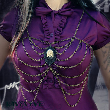 Rib Cage Chain and Skeleton Cameo Body Chain Harness Skeleton Ribs Design