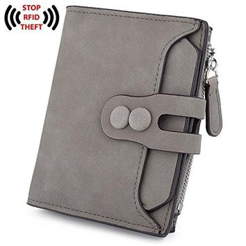 UTO RFID Wallet for Women PU Matte Leather Blocking Tech Wallet Card Holder Organizer Girls Coin Purse with Snap Closure