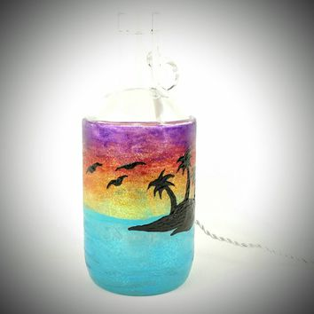 Lighted wine bottle, sunset wine bottle, tropical wine bottle, decorative wine bottle, palm tree painted wine bottle, wine bottle with light