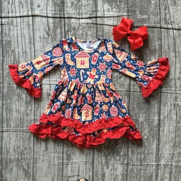 Christmas girls children clothes baby gingerbread man cotton Fall/Winter long sleeve ruffle dress boutique match accessories bow