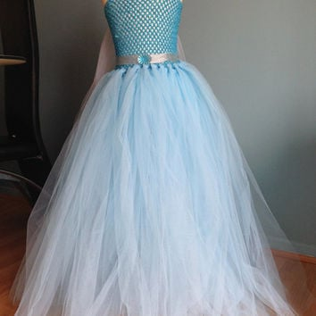 Princess Frozen Elsa Handmade Full Length Fancy Dress Costume Dress up with Snowflake Cape Age 3 4 5 6 7 8