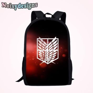 Cool Attack on Titan NOISYDESIGNS Kawaii  Pattern Print Children School Bags Backpack for Boys Girls Students Book Bag Teenager AT_90_11