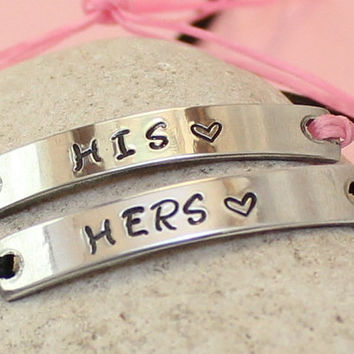 His and Hers Bracelets.. Custom.. Hand Stamped.. Set of two bracelet.. Personalized / Custom bracelets..