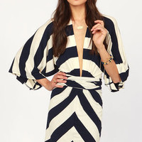 Kimono-a-Mano Navy Blue and Ivory Striped Dress