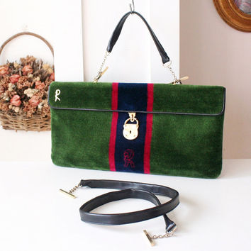 Roberta di Camerino vintage 80s green velvet leather tote shoulder bag