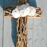Driftwood Seashell Cross/Beach Wedding Cross/Seashell Home Decor