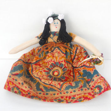 Handmade Cloth Doll with Vintage Print Dress, Flowers and Bow