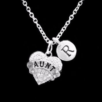 Choose Initial, Aunt Crystal Heart Valentine Mother's Day Gift Charm Necklace