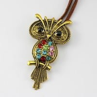 The Lovely Vintage Rhinestone Owl Suede Necklace