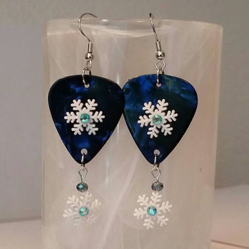 Guitar Pick Jewelry by Betsy's Jewelry - Earrings - Snowflakes - Winter - Christmas Jewelry - Snow