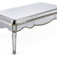 Adeline Mirrored Coffee Table, Silver, Outdoor Coffee & Cocktail Tables