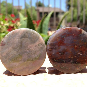 Moss Agate Plugs 9/16, 5/8,1 1/8in (28mm)