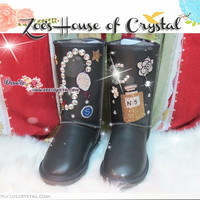 PROMOTION WINTER Black Sheepskin Fleech/Wool Boots with CoCo Perfume Style made with Swarovski / Czech elements