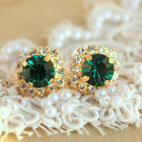 Emerald green Crystal stud earring - 14k plated gold post earrings real swarovski rhinestones .