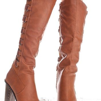 CONGAC KNEE HIGH FAUX LEATHER PLATFORM CHUNKY HIGH HEEL BOOTS