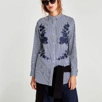SHIRT WITH EMBROIDERED FRONT DETAILS