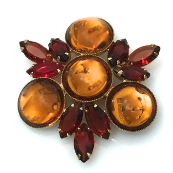 Amber and Red Rhinestone Brooch, Amber Glass Cabochons, Red Marquise, Stylized Maltese Cross, Gold Tone. 1960s