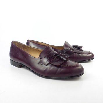 Ferragamo Loafers Shoes Vintage 1980s Burgundy Leather men's size 9 EE