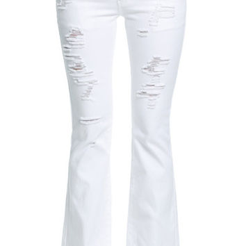White Ripped Bell Bottom Jeans