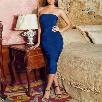 Royal Blue Sleeveless Midi Bandage Dress