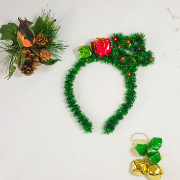 Green Star Headband, Christmas Headband, X-mas Headband, Holiday LED headband, Star headband, Adult Headband, Christmas Costume