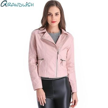 Grandwish Women Leather Jacket Plus Size 4XL Short PU Leather Jacket Woman Female Moto Turn-down Collar New Spring,CB018