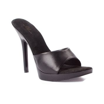 "Ellie Shoes IS-E-502-Vanity 5"" Heel Mule Black pu 8, Clear Black 10"
