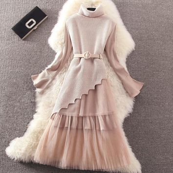 Autumn Winter Women Dress Suit Cute Mesh Lace Knitted Dress Bodycon Casual Pleated Dress Work Spring vestidos