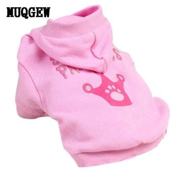 New Pink Pet Dog Clothes Crown Pattern Puppy Clothing Coat Hooded Cotton T Shirt tactical vest coats