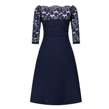 Navy Blue Cocktail Dresses Elegant Short Little Black Dress Lace Off shoulder Formal Dresses Short Sleeve Satin Prom Gown