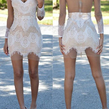 White Lace Backless Dress