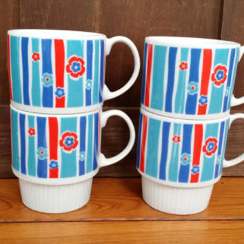 Vintage Retro Blue and Red Stacking Flower Coffee Mug Tea Cup Set of 4