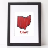 Ohio State Art Print, Ohio state map in red with heart